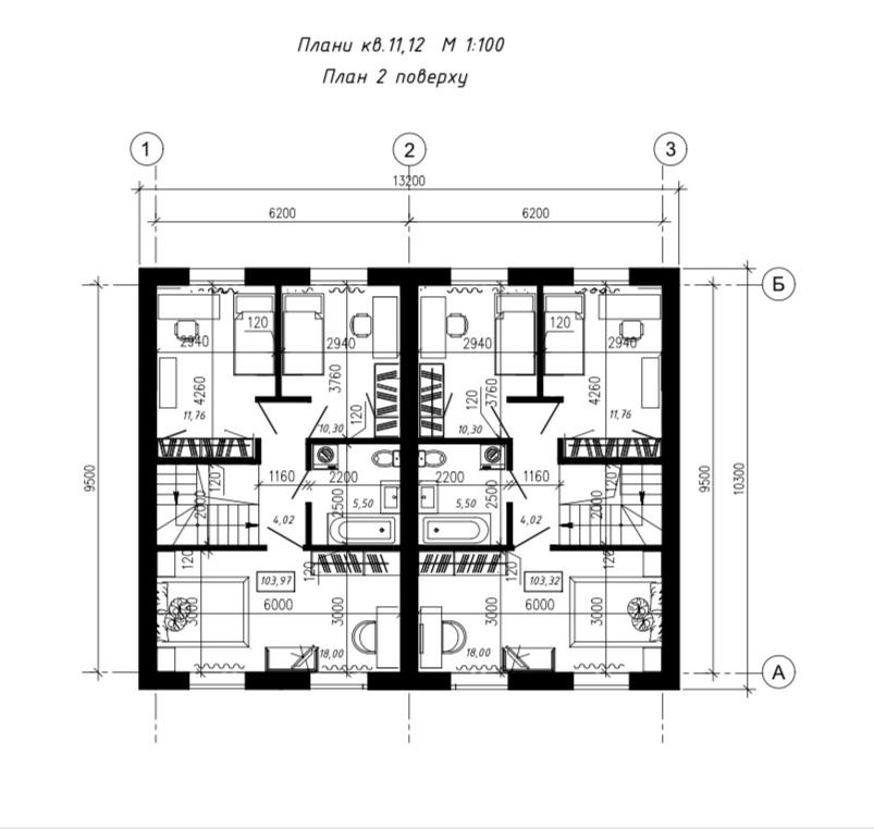 Другий поверх, дуплекс 110м2.